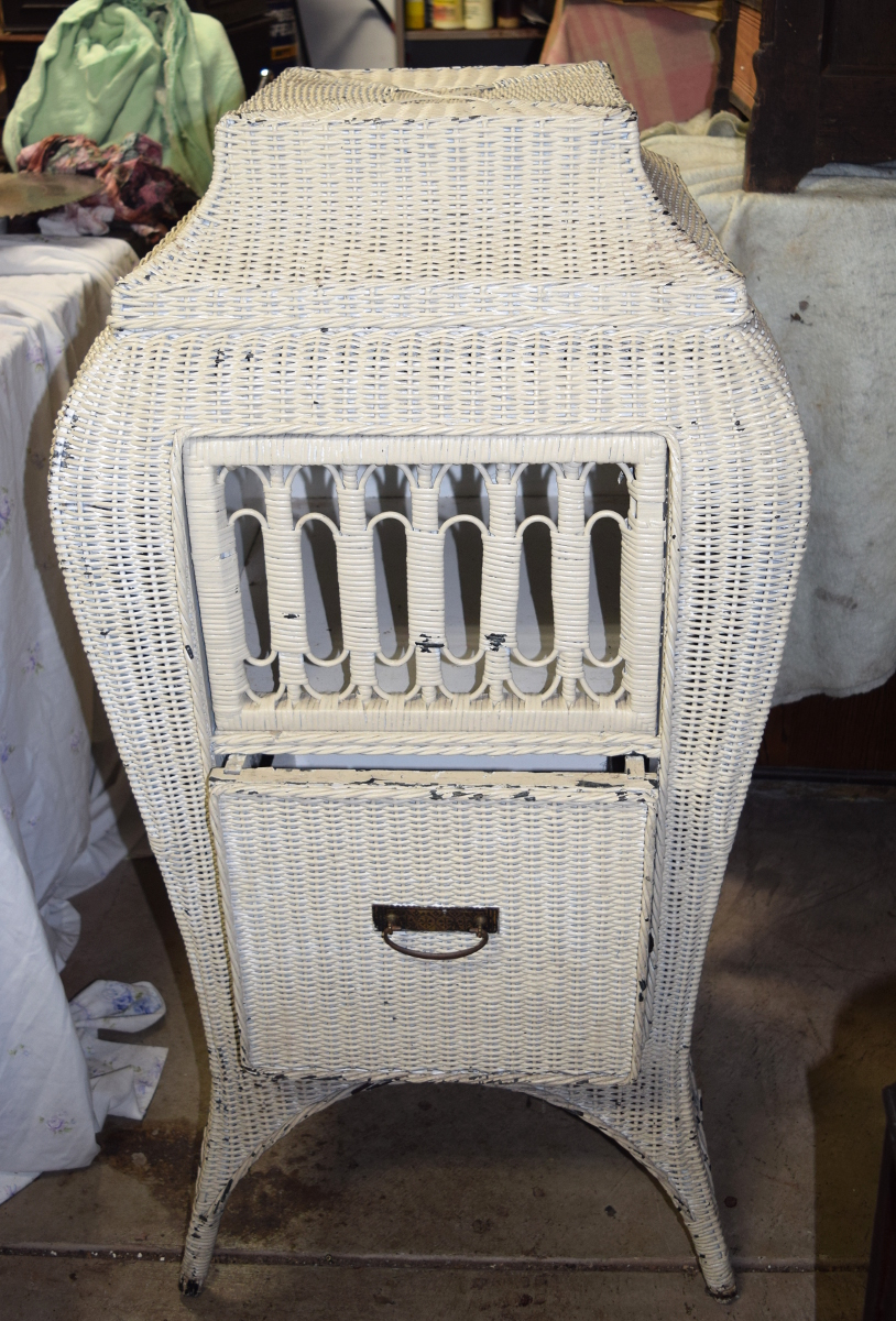 Bombe Wicker Phonograph Cabinet For Sale
